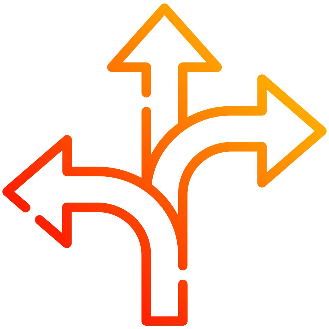Icon: drei Pfeile, die in unterschiedliche Richtungen zeigen